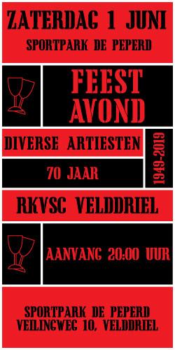 RKVSC viert feest met op zaterdag avond 1 juni een feestavond voor iedereen